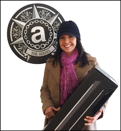 Lisa Hernandez's tweets caught our attention and she was ecstatic to walk away with her Sonos Soundbar.ADDY TWITTER CONTEST WINNER: Lisa Hernandez. Courtesy of Marketing Matters